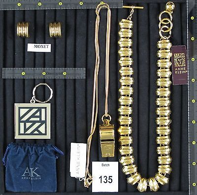New-PreOwned Signed Jewelry Lot: Anne Klein Necklace, Whistle & Keychain + Monet