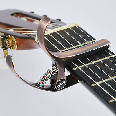 Classical Guitar Capo for a Flat Fretboard - Quick Change - Bronze