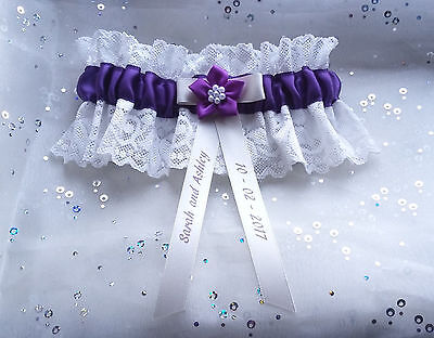 Personalised Purple & Ivory Lace Poinsettia Wedding Gift Bridal Brides Garter
