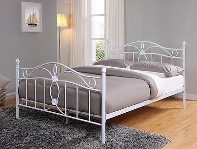 White 4FT6 5FT Metal Bed Frame Double King Size Mattress and High Footend NEW
