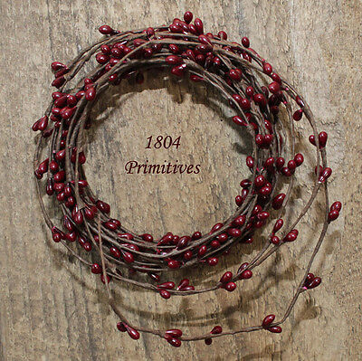 Primitive Pip Berry Garland ~ 18ft single ply roping ~ Burgundy