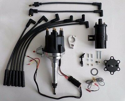 small cap CHEVY INLINE 6 Cylinder 235 Black HEI Distributor + 45K Coil + Wires