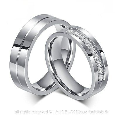 Alliance Bague Anneau Titane Argent Strass Diamant Mariage Wedding Ring Couple