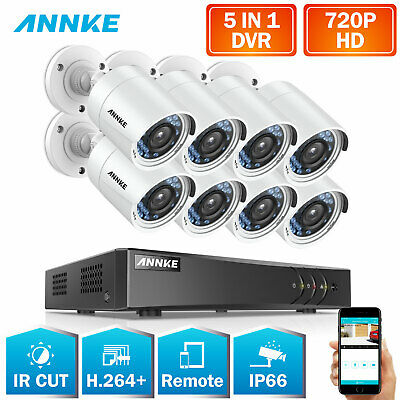 SANNCE 8CH 720P CCTV DVR 1080P NVR Night Vision Home Security Camera System IP66