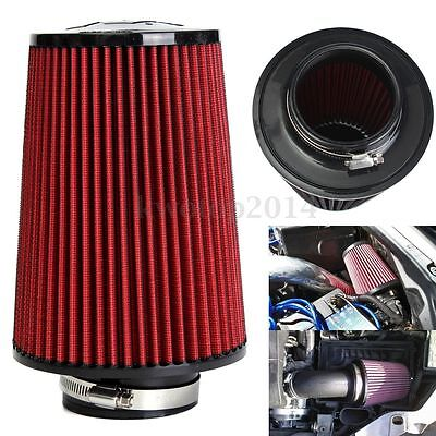 """3"""" High Flow Car Trunk Racing Cold Air Intake Filter Tapered Cone Cleaner Red"""