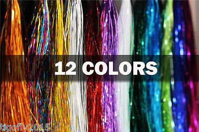 12 Assorted Colours Holographic Flashabou Mylar Tinsel Flash Fly Tying Materials