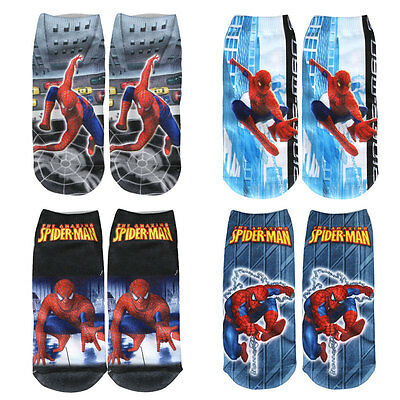 3x Boys Girls Kids Cotton Spiderman Socks Spider-Man Novelty Cartoon Design Sock