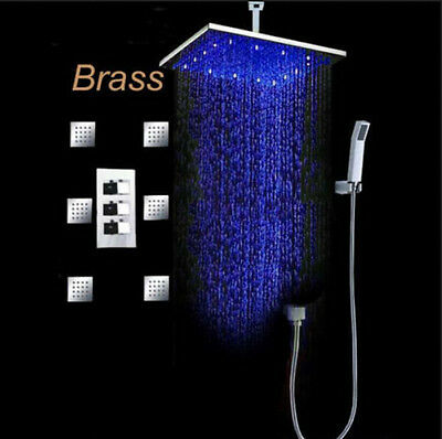 """LED Colors 16"""" Rain Shower Faucet Set with 6 Massage Jets Spray Celling Mounted"""