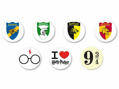 Lot Pack Badge Button Ø25mm Harry Potter Emblem Crest Blason Armoirie
