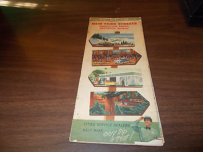 1953 Cities Service New York Streets Vintage Road Map