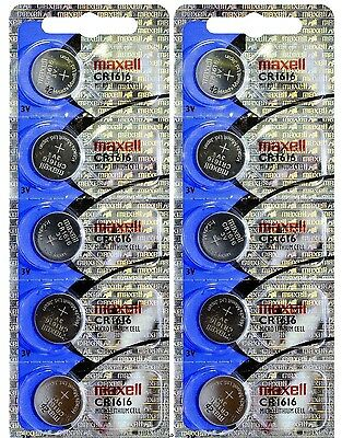 CR 1616 MAXELL LITHIUM BATTERIES (10 piece) 3V watch New Authorized Seller