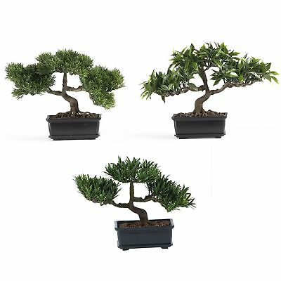 "12"" Artificial Set Of 3 Japanese Silk Bonsai Trees"