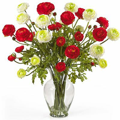 "24"" Ranunculus Silk Flower Arrangement -Red/White"