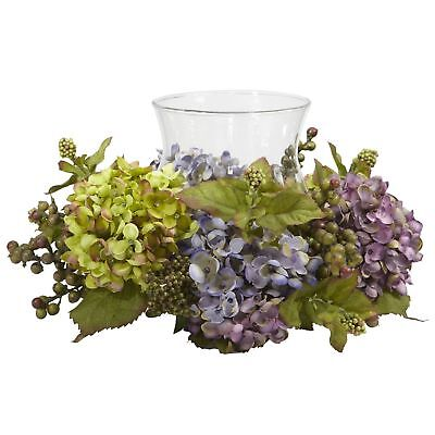 """14"""" Wide Mixed Hydrangea Silk Flower Candle Ring Holder w/Glass -Assorted"""