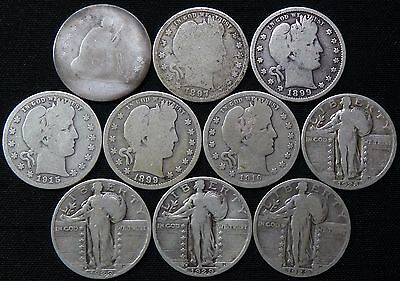 x10 Silver Quarters Seated Liberty Barber Walking US Coin Collection Lot #2755XJ