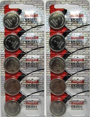 CR 2032 MAXELL LITHIUM BATTERIES (10 piece) 3V watch New Authorized Seller