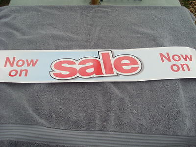 SALE Signs Horizontal Poster Banner Self Cling Vinyl Re-Usable RED