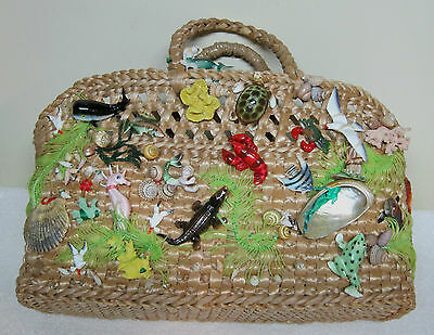 OLD Hawaiian Purse Mermaids Seahorse Crab Shells Whale Frog MORE Must See Rattan