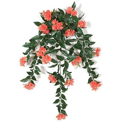 """30"""" UV-Proof Outdoor Artificial Impatiens Flower Bush -Coral (pack of 4)"""