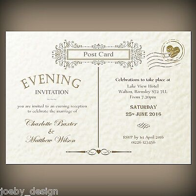 50 Personalised wedding / evening invitations & envelopes, Vintage Post Card.