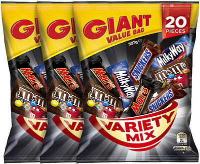 3 x Mars Variety Fun Size Share Pack 307g