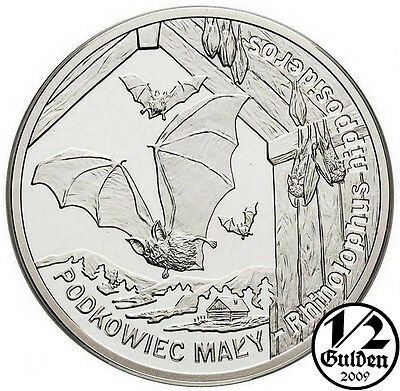 POLAND 20 Zlotych 2010 Lesser Horseshoe Bat Silver Proof Coin