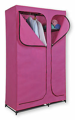 Double Canvas Wardrobe Pink Hanging Clothes Rail Storage Shelves Portable