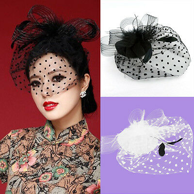 Women Fascinator Party Veil Feather Hair Clip Hat Mesh Net Handcraft Charming r