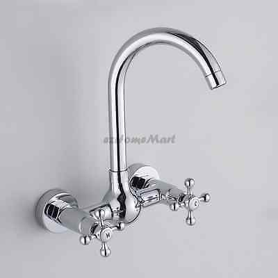Cross Double Handle Wall Mounted Chrome Kitchen Faucet Swivel Sink Tap Mixer 210