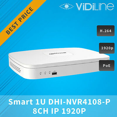 8 CH IP 1920P Smart 1U NETWORK VIDEO RECORDER DAHUA DH-NVR 4108-8P 5MPIX 8xPoE !