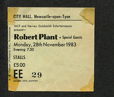 1983 Robert Plant concert ticket stub Newcastle UK The Principle of Moments