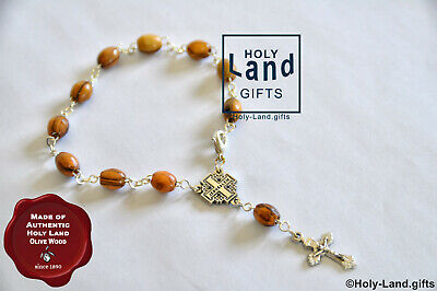 Olive wood bracelet mini rosary oval wooden religious JERUSALEM cross ONE DECADE