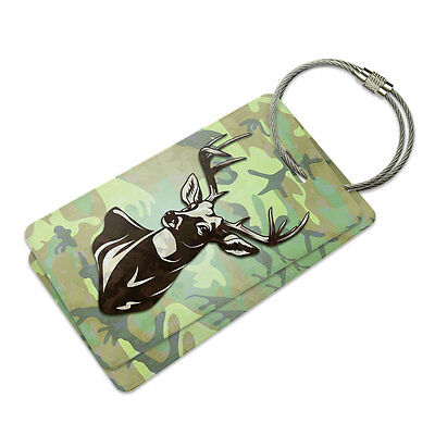 Deer Hunting Green Camouflage Suitcase Bag ID Luggage Tag Set
