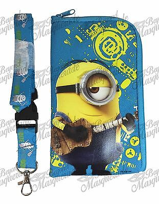 Minions Detachable Lanyard Zipper Wallet ID Pouch and Phone Holder [Light Blue]