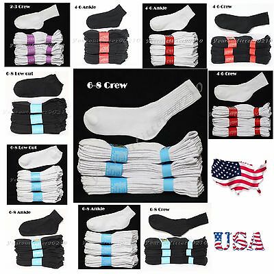 4 12 Pairs Lot Boy Girl Cotton Socks Junior Kids Crew Ankle White 2-3 4-6 6-8