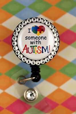 Retractable Badge Reel Name Tag ID Card Pull Clip Holder Autism Awareness gift