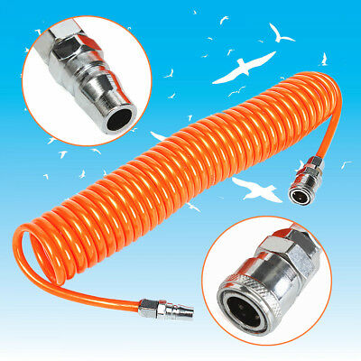 6M 19.7Ft 8mm x 5mm Flexible PU Recoil Hose Spring Tube For Compressor Air Tool