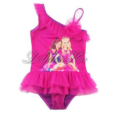 Kids Girls Barbie One Shoulder Toddler Tulle Swimsuit Swimwear Bathing Suit 1-6Y
