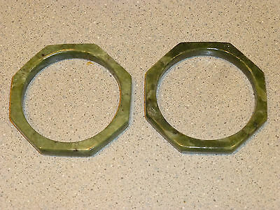 """Jade (2) Octangle Bangle Bracelets 2 7/8"""" with a 2 3/8"""" opening 3 oz. Total"""