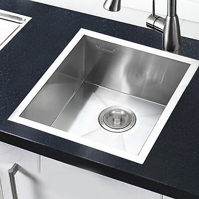 "17"" 19Gauge Single Bowl Stainless Steel Kitchen Sink Square Undermount Top Mount"