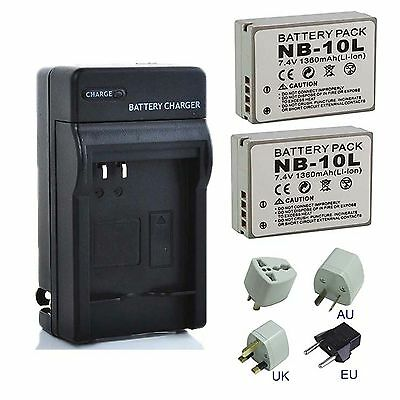 Battery Pack / Charger for Canon NB-10L, NB10L SX60 HS, Rechargeable Lithum-Ion