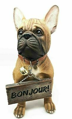French Bulldog Figurine With Jingle Collar and Sign Patio Welcome Decor Bonjour