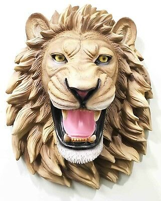 """Jungle King Roaring Lion Head Bust Wall Hanging Figurine Home Decor Plaque 14""""L"""