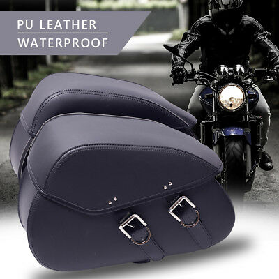 New Motorcycle Pannier Leather Saddlebags Saddle Bags Luggage Side Bag Universal
