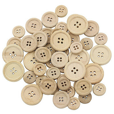 50X Wonderful Wooden Buttons Natural Color Round 4-Holes Sewing Scrapbooking DIY