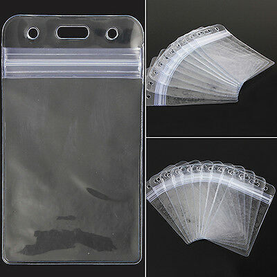 Pleasing Funky 10Pcs Set Vertical Plastic Clear ID Card Badge Holder with Zipper