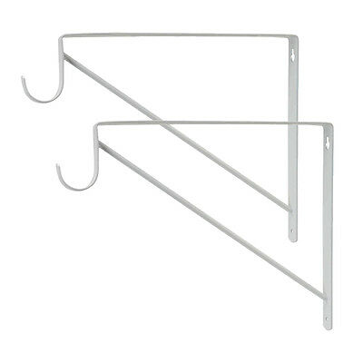 Heavy Duty Shelf Bracket and Closet Rod Support, White Finish 10 inch 2 Pack