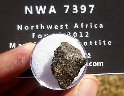 NWA 7397 Martian (shergottite)  Meteorite 4.10 gram specimen with lots of CRUST!