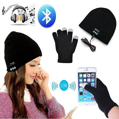 Christmas Gift Ideas Hat With Bluetooth Wireless Headphone + Touch Screen Gloves