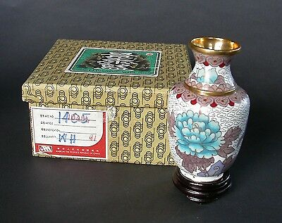Fine Small Cloisonne Vase With Wooden Base And Original Box P.r. Of China